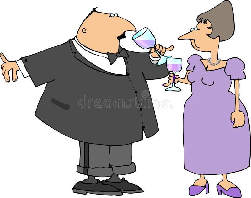 Het drinken van het paar wijn vector illustratie