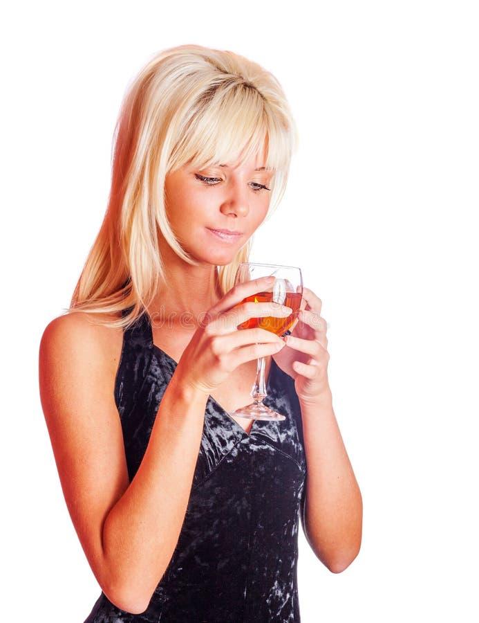 Het drinken van het meisje wijn stock afbeeldingen