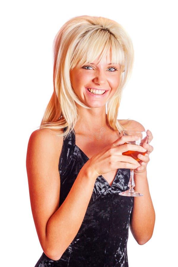 Het drinken van het meisje wijn stock foto's