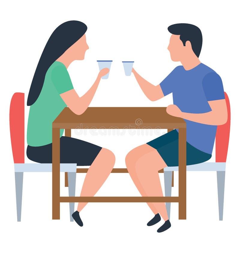 Het Drinken van het paar Thee royalty-vrije illustratie