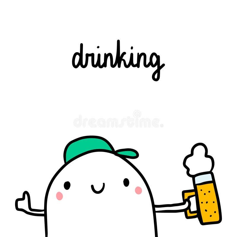 Het drinken van teveel alcoholische getrokken illustratie van de dranken slechte gewoonte hand met leuke heemst royalty-vrije stock foto