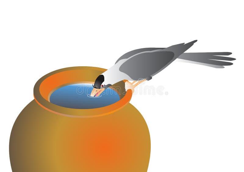 Het drinkwater van de kraai royalty-vrije illustratie