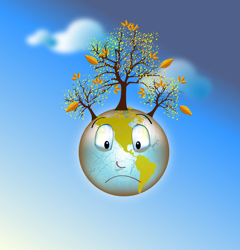 Het droevige aarde sterven stock illustratie