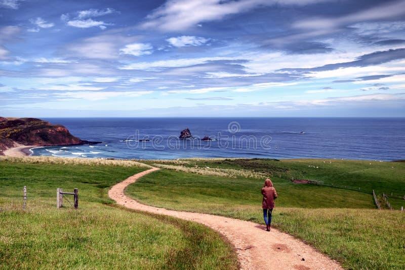 Het droevige eenzame meisje volgt een smalle weg naar het strand stock afbeeldingen