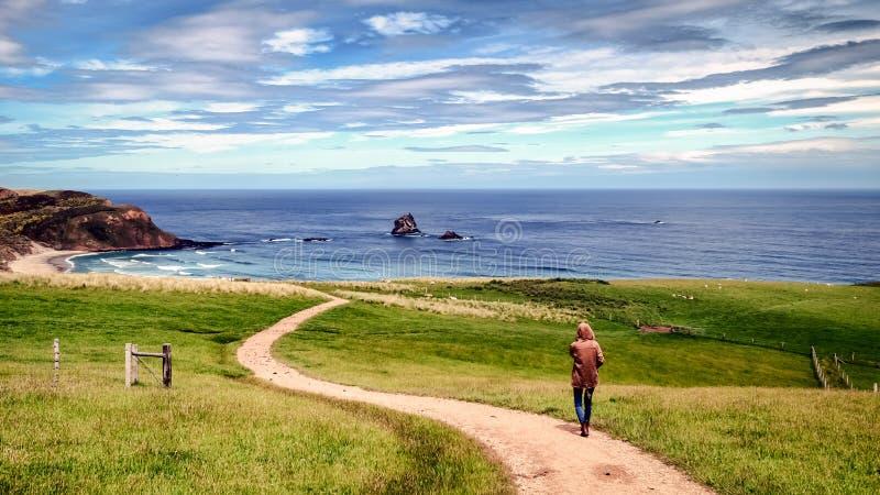 Het droevige eenzame meisje volgt een smalle weg naar het strand royalty-vrije stock foto's