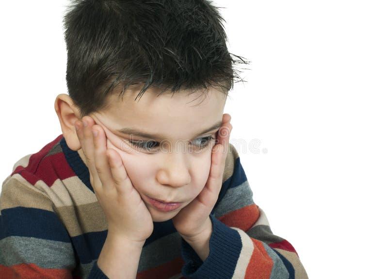 Het droevige kind heeft problemen royalty-vrije stock afbeeldingen