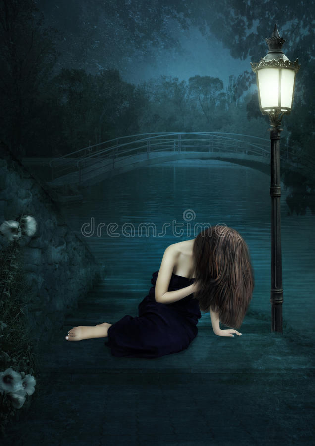 Het droevige meisje royalty-vrije stock fotografie