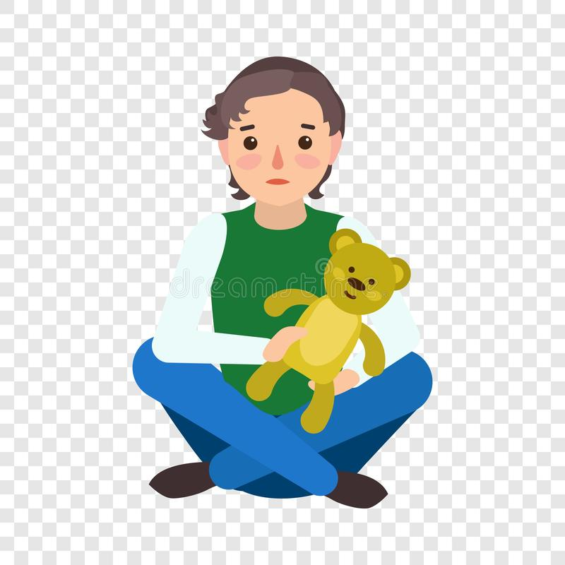 Het droevige pictogram van de jongensteddybeer, vlakke stijl royalty-vrije illustratie