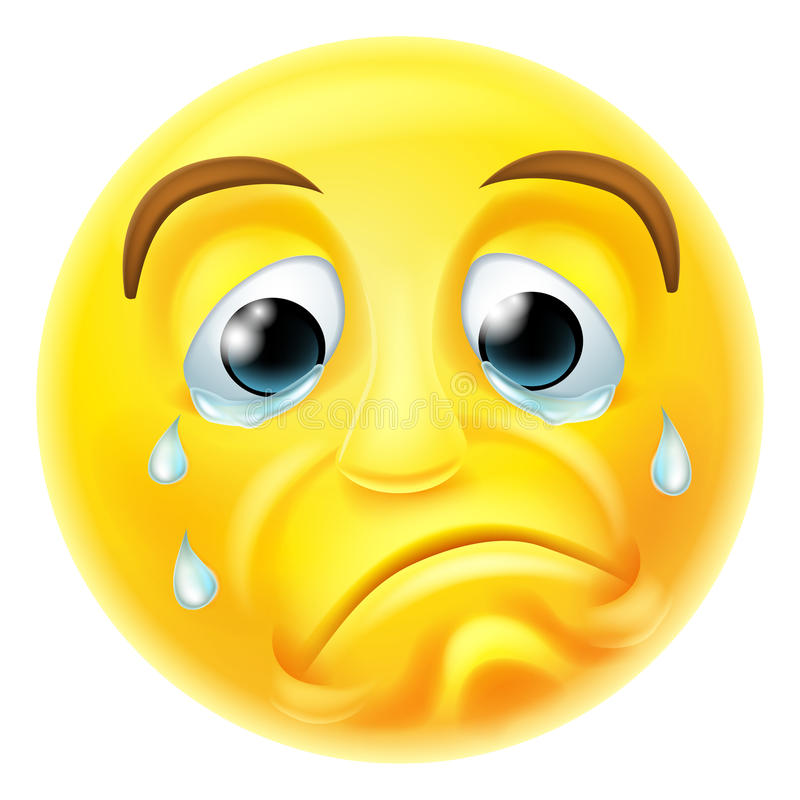 Het droevige Schreeuwen Emoji Emoticon stock illustratie