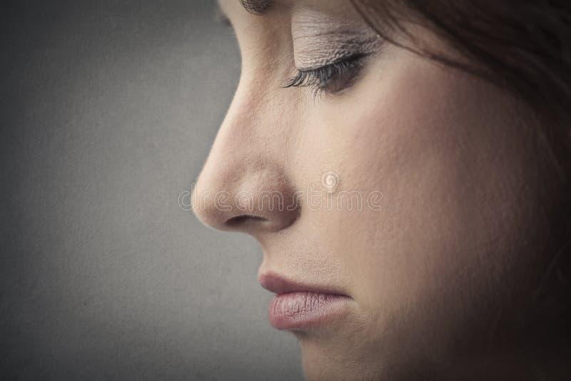 Het droevige vrouw schreeuwen stock afbeeldingen