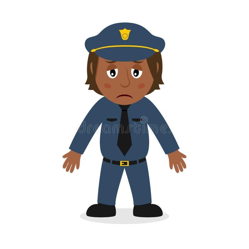 Het droevige Zwarte Karakter van het Politieagentebeeldverhaal stock illustratie