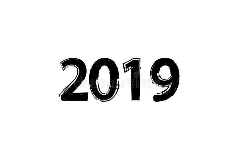Het droge effect van de borsteltextuur het cijferhand van 2019 het van letters voorzien Gelukkig Nieuwjaar Vrolijke Kerstmis Grad stock illustratie