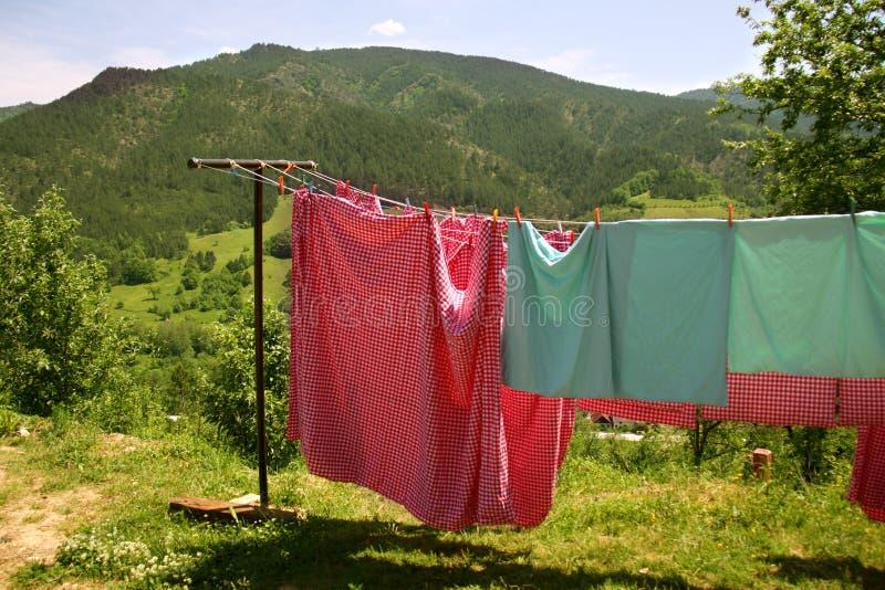 Het drogen van de wasserij stock fotografie
