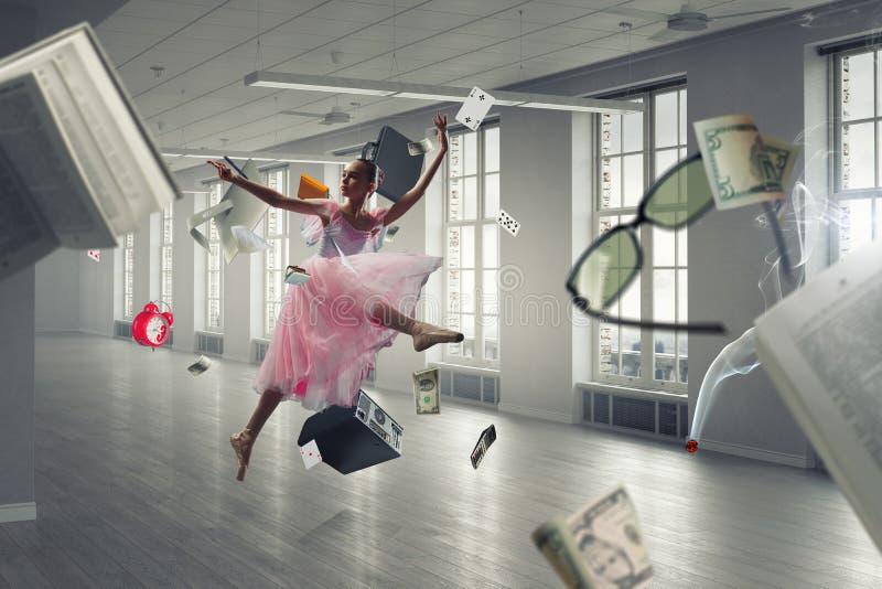 Het dromen om ballerina te worden Gemengde media royalty-vrije stock fotografie