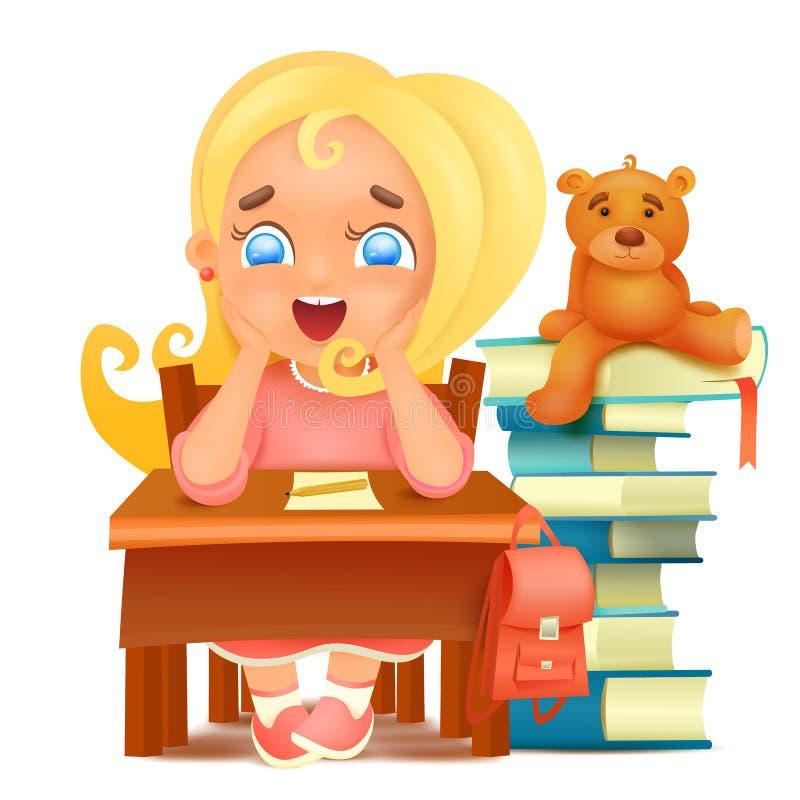 Het dromen van de jonge zitting van het studentenmeisje bij lijst stock illustratie