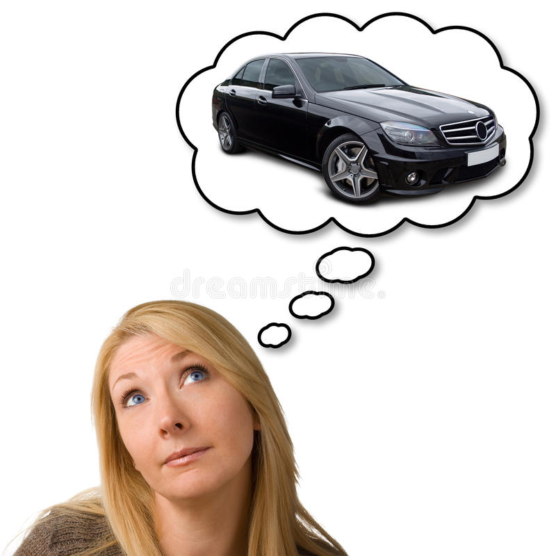 Het dromen van dure nieuwe auto stock afbeelding