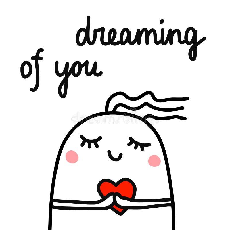 Het dromen van leuke hand getrokken gelukkige gehouden van heemst met hart in handen voor de stickers van de dekkingsbanners van  vector illustratie