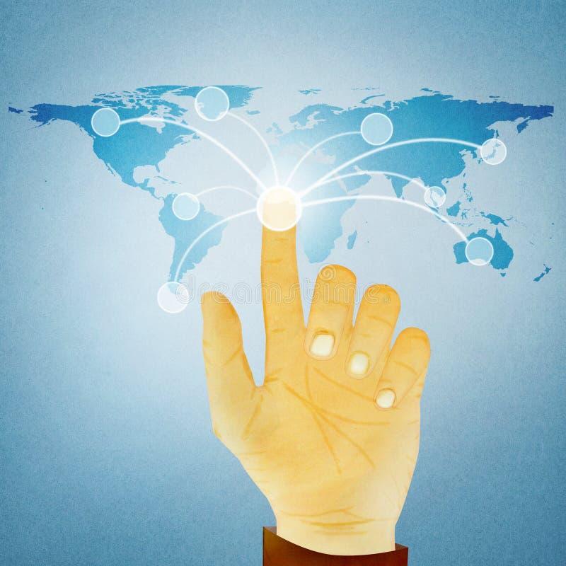 Het drukken van de hand digitale knoop op wereldkaart stock illustratie