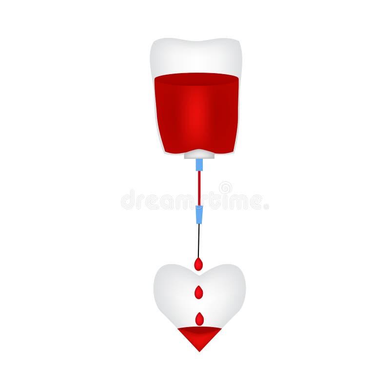 Het druppelbuisje vult het hart met bloed De Dag van de wereldBloedgever Infographics Vectorillustratie op geïsoleerde achtergron vector illustratie