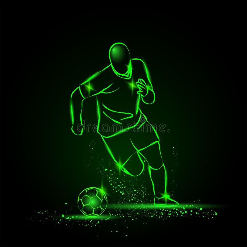 Het druppelen voetbal Voetballer die met de bal lopen De stijl van het neon royalty-vrije stock fotografie