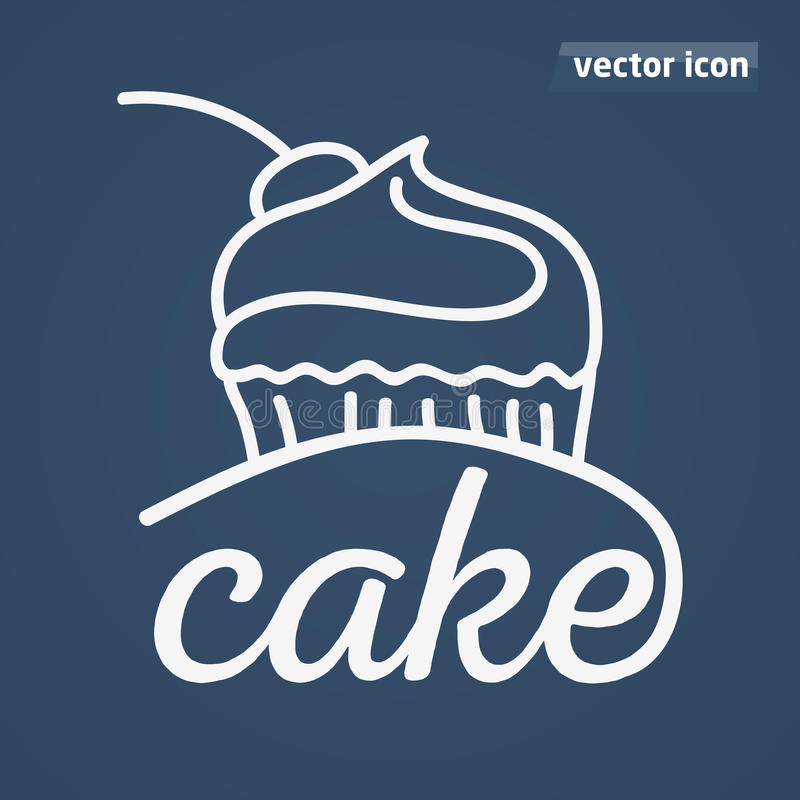 Het drwan pictogram van de cakehand royalty-vrije illustratie