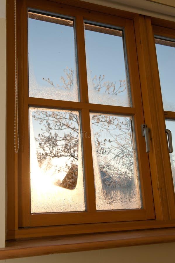 Het dubbel verglaasde houten venster stock fotografie
