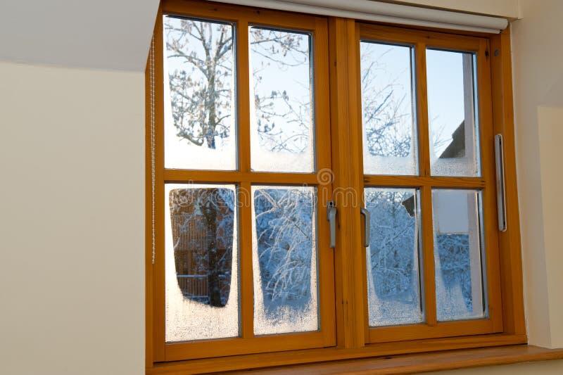 Het dubbel verglaasde houten venster stock afbeelding