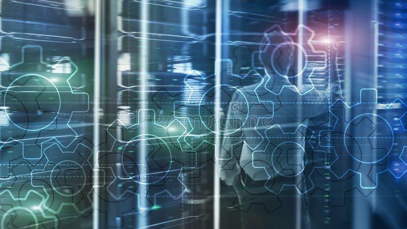 Het dubbele mechanisme van blootstellingstoestellen op vage achtergrond Bedrijfs en industrieel procesautomatiseringsconcept royalty-vrije illustratie