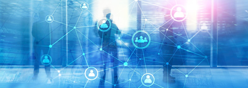 Het dubbele netwerk structureà ¾ à ¾ u van blootstellingsmensen - van de Personeelsbeheer en rekrutering concept stock foto