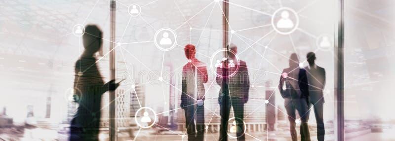 Het dubbele netwerk structureà ¾ à ¾ u van blootstellingsmensen - van de Personeelsbeheer en rekrutering concept stock foto's