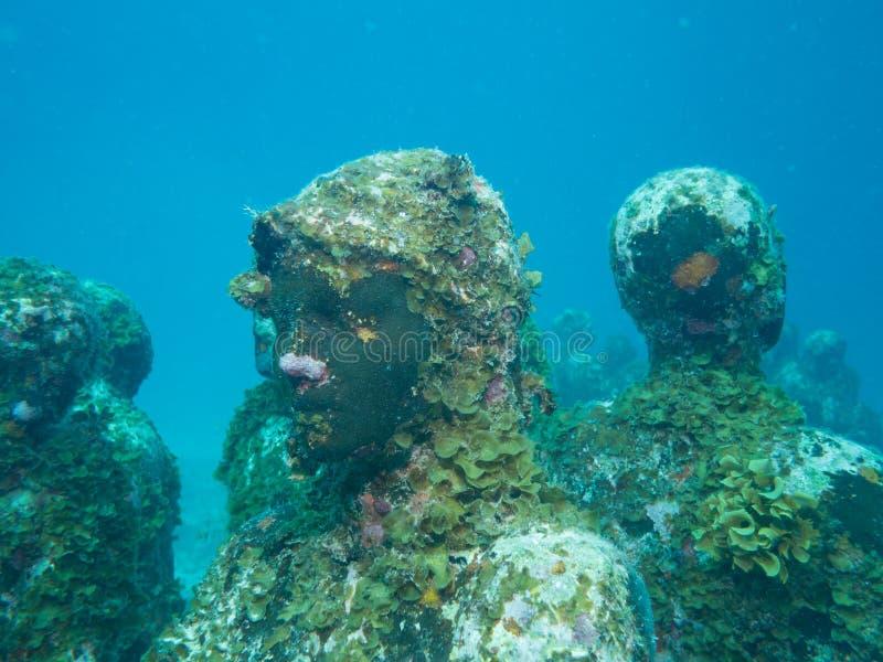 Het duiken bij het onderwatermuseum cancun stock afbeeldingen