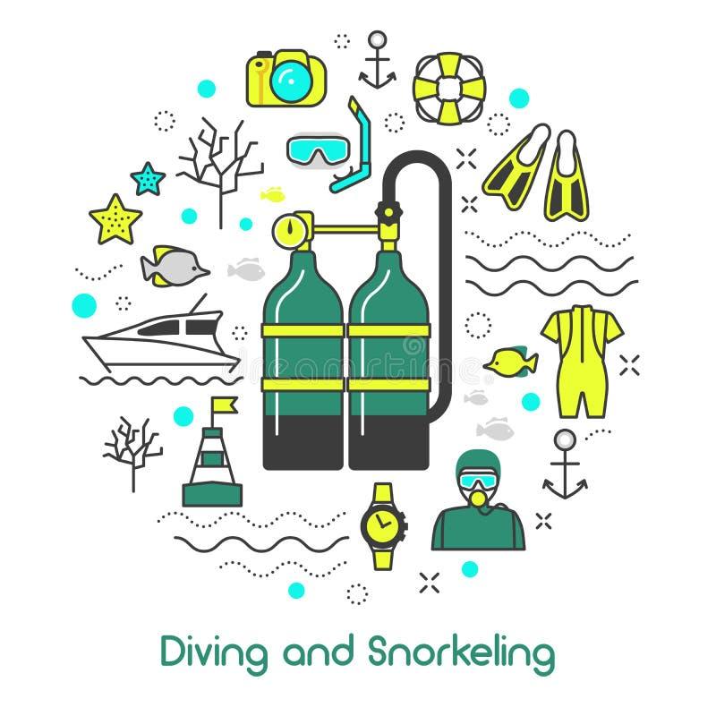 Het duiken de Snorkelende Lijn Art Icons van het Scuba-uitrustingsmateriaal vector illustratie
