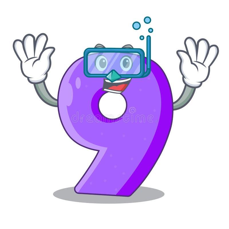 Het duiken nummer negen atletiek het gestalte gegeven karakter stock illustratie
