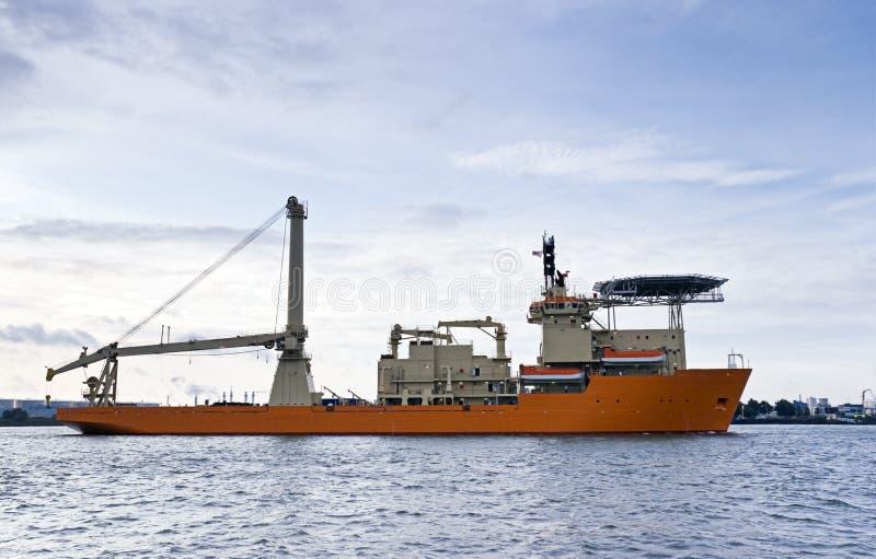 Het duiken ondersteuningsvaartuig stock foto's