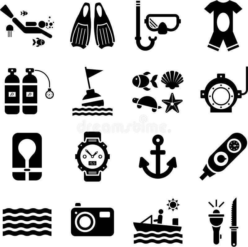 Het duiken pictogrammen vector illustratie