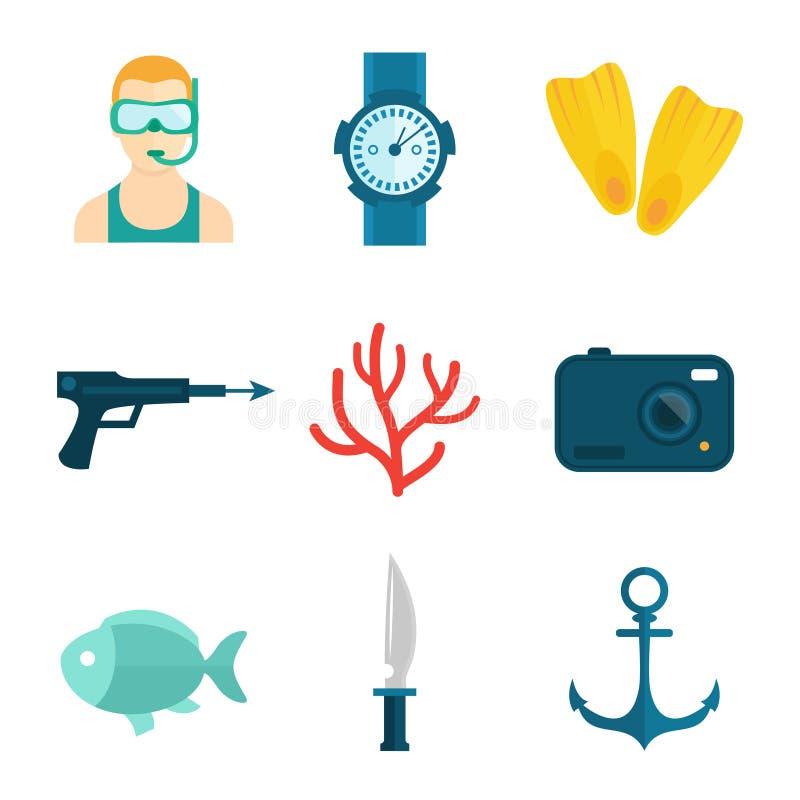 Het duiken pictogrammen vlak vector illustratie