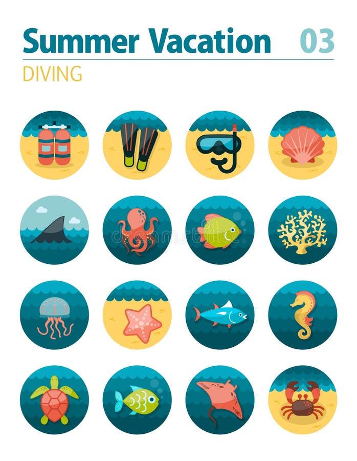 Het duiken Pictogramreeks De zomer Vakantie royalty-vrije illustratie