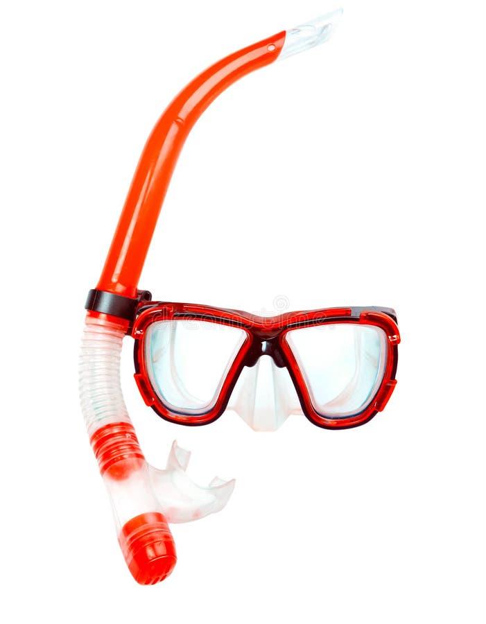 Het duiken snorkelt het rode geïsoleerde masker, duikermateriaal stock fotografie