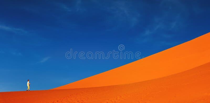 Het duin van het zand het beklimmen stock foto
