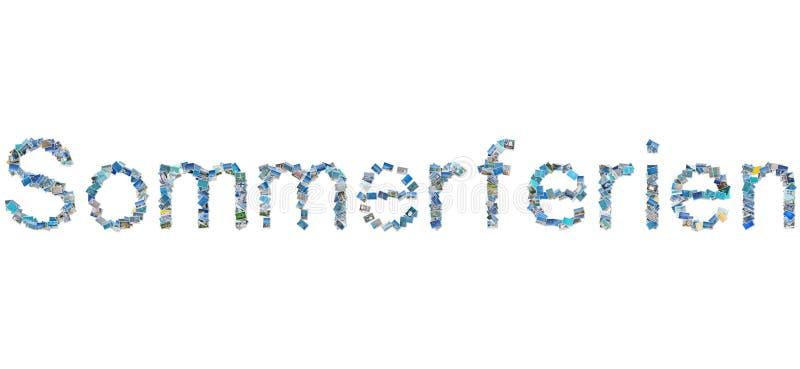 Het Duitse woord Sommerferien in fotocollage betekent de zomervakanties. royalty-vrije stock fotografie