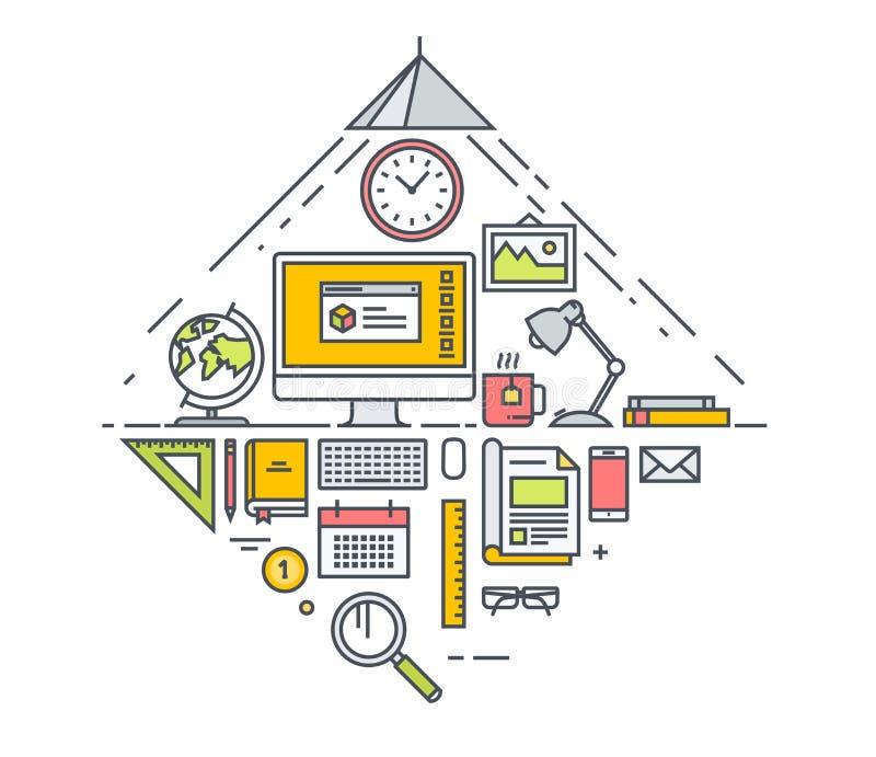 Het dunne concept van het lijn vlakke ontwerp bedrijfswerkruimte en bureauhulpmiddelen Concept voor websitebanners en promotiemat royalty-vrije illustratie