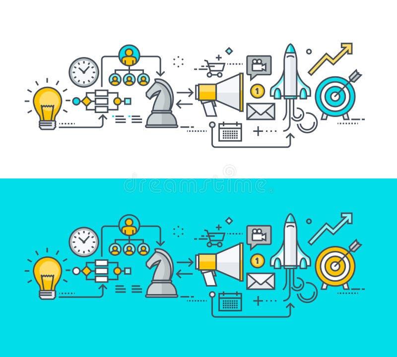 Het dunne concept van het lijn vlakke ontwerp op het thema van het businessplan stock illustratie