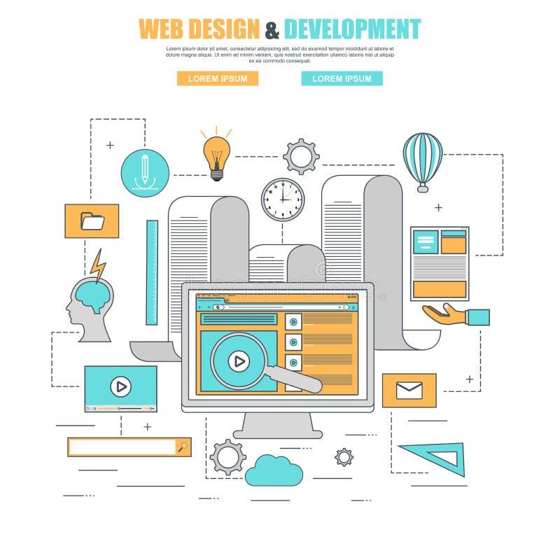 Het dunne concept van het lijn vlakke ontwerp voor het ontwerp van het procesweb en ontwikkelingswebsite royalty-vrije illustratie