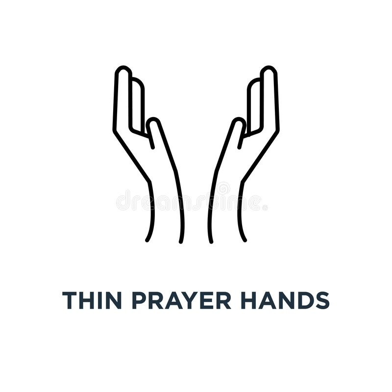 het dunne gebed overhandigt zwart pictogram, symbool van vrouwenkinetisch gedrag zoals genade of bidt in ramadan de stijlislam va royalty-vrije illustratie
