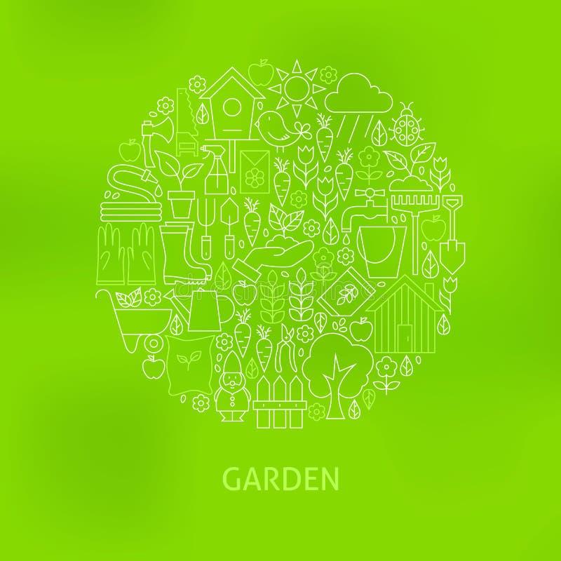 Het dunne Lijn Groene Tuinieren en Bloemenpictogrammen Geplaatst Cirkelconcept stock illustratie