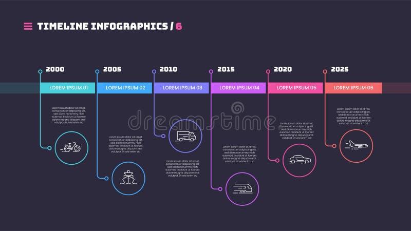 Het dunne minimale infographic concept van de lijnchronologie met zes periodes stock illustratie