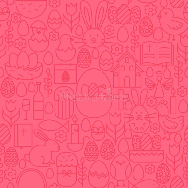 Het dunne Naadloze Roze Patroon van Lijn Gelukkige Pasen royalty-vrije illustratie