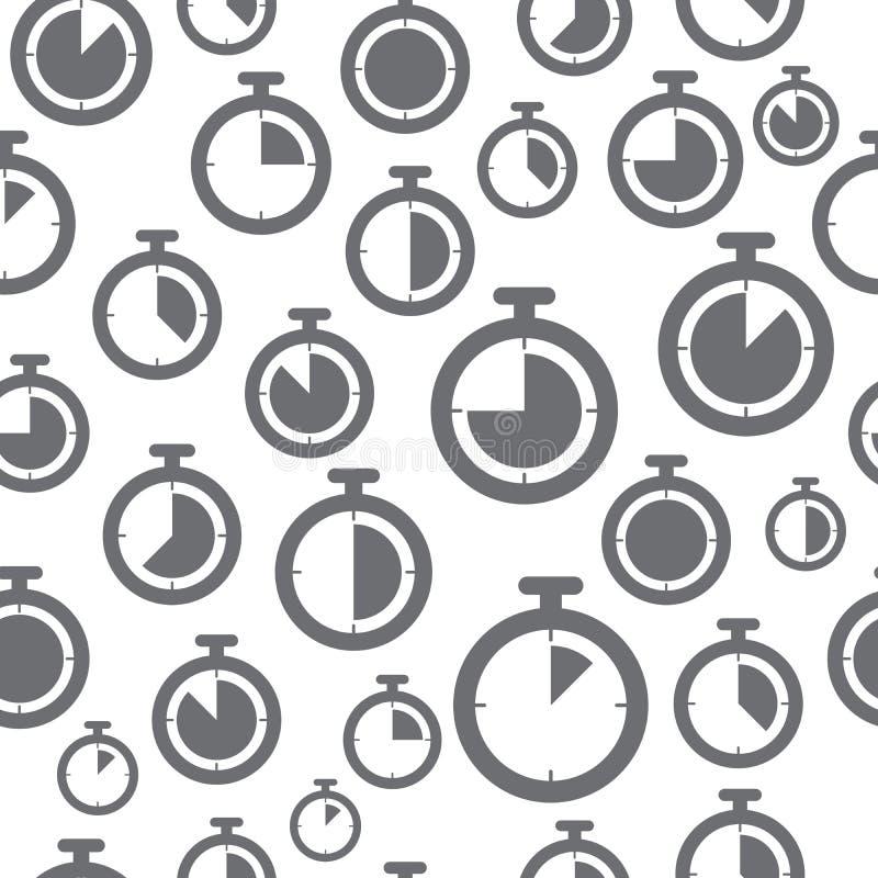 Het dunne patroon van lijnpictogrammen, chronometer stock illustratie