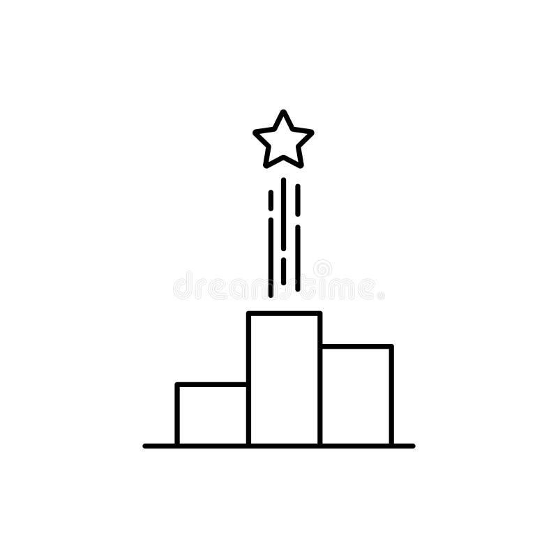 Het dunne pictogram van het lijn zwarte overzicht Concept de voorspelling van de bedrijfgroei of persoonlijke opdracht Vlak linea royalty-vrije illustratie