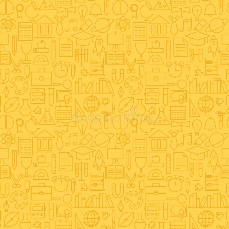 Het dunne van de het Onderwijsgraduatie van de Schoollijn Naadloze Gele Patroon vector illustratie
